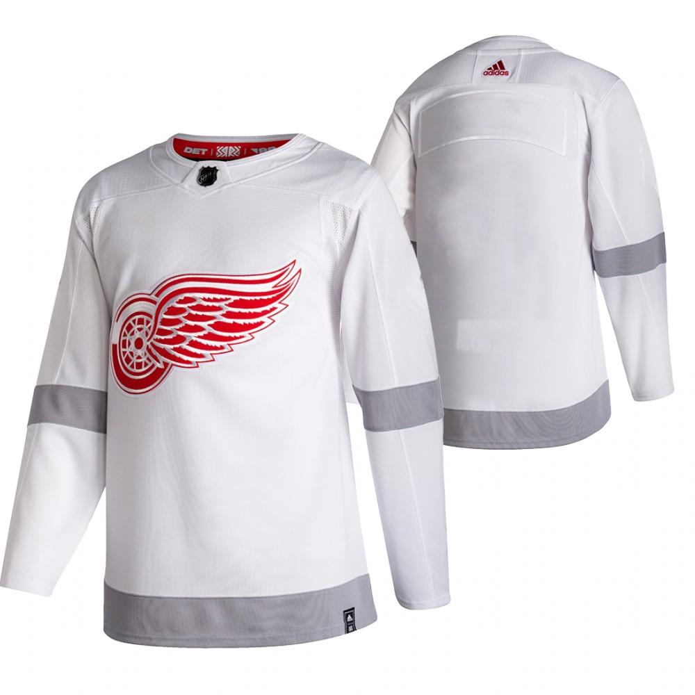 Detroit Red Wings Blank White Men's Adidas 2020-21 Reverse Retro Alternate NHL Jersey