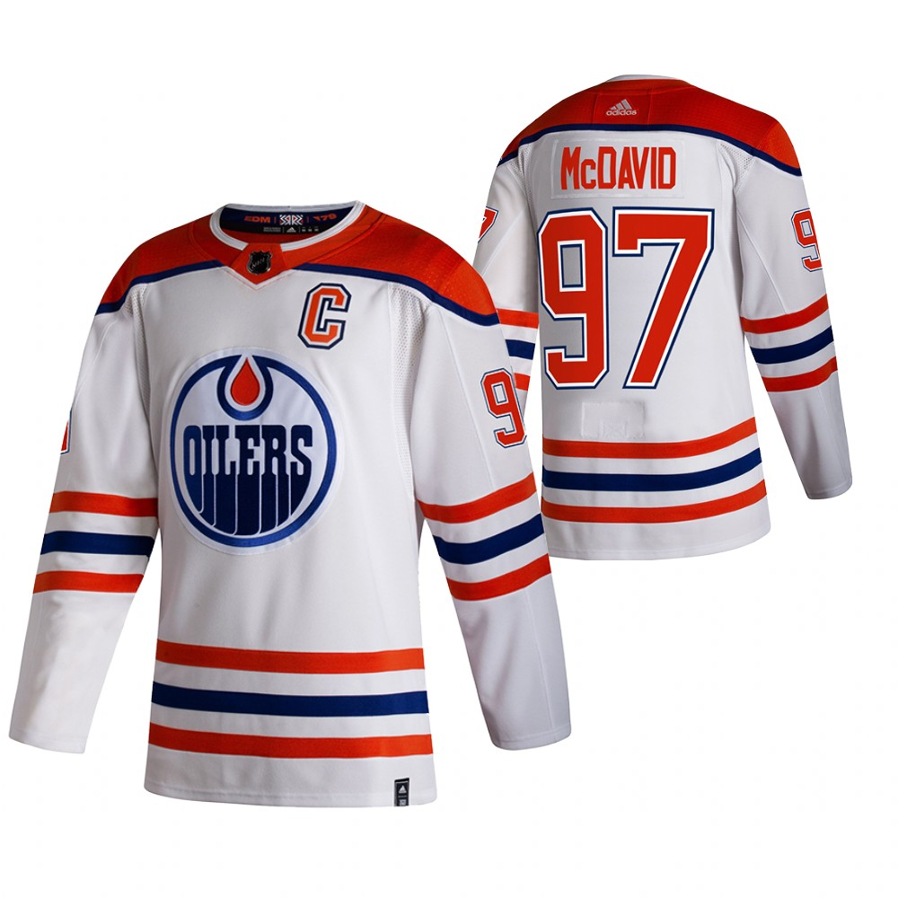 Edmonton Oilers #97 Connor McDavid White Men's Adidas 2020-21 Reverse Retro Alternate NHL Jersey