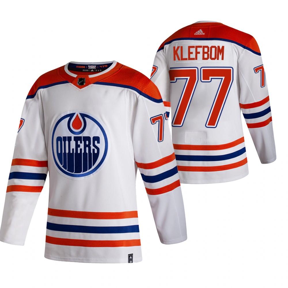 Edmonton Oilers #77 Oscar Klefblom White Men's Adidas 2020-21 Reverse Retro Alternate NHL Jersey