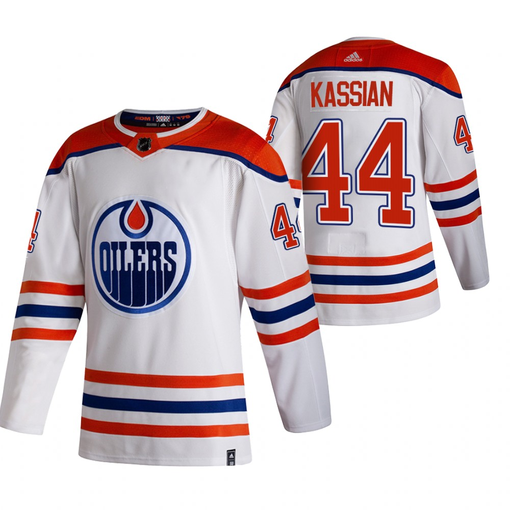 Edmonton Oilers #44 Zack Kassian White Men's Adidas 2020-21 Reverse Retro Alternate NHL Jersey