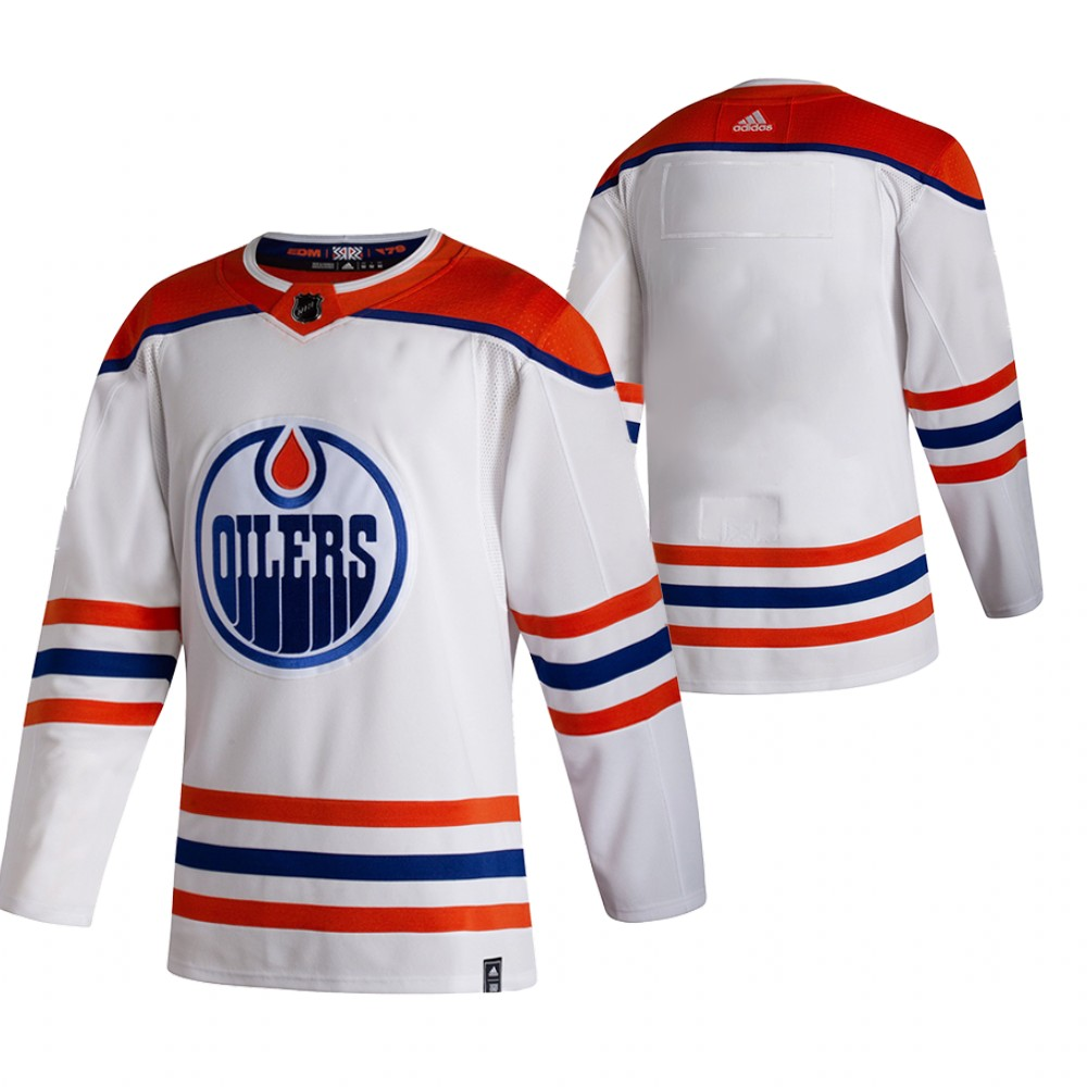 Edmonton Oilers Blank White Men's Adidas 2020-21 Reverse Retro Alternate NHL Jersey