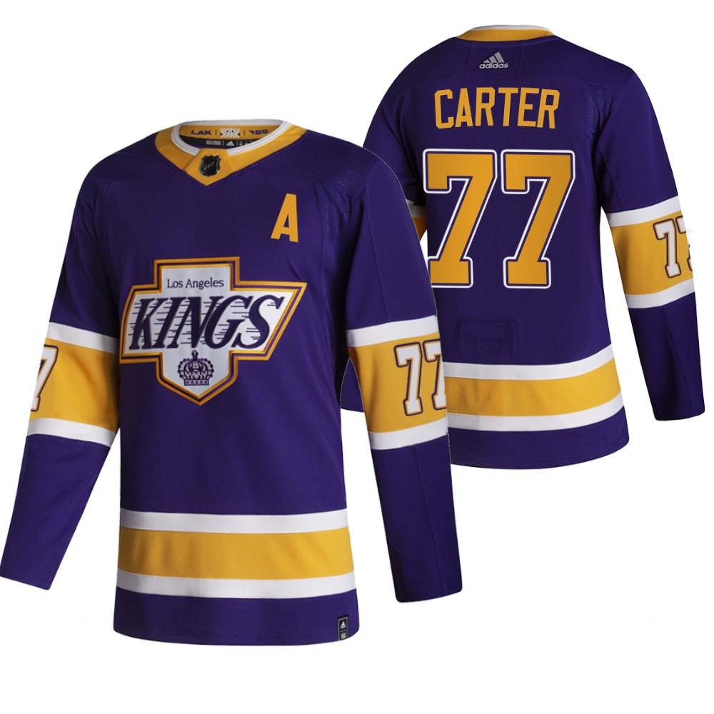 Los Angeles Kings #77 Jeff Carter Black Men's Adidas 2020-21 Reverse Retro Alternate NHL Jersey