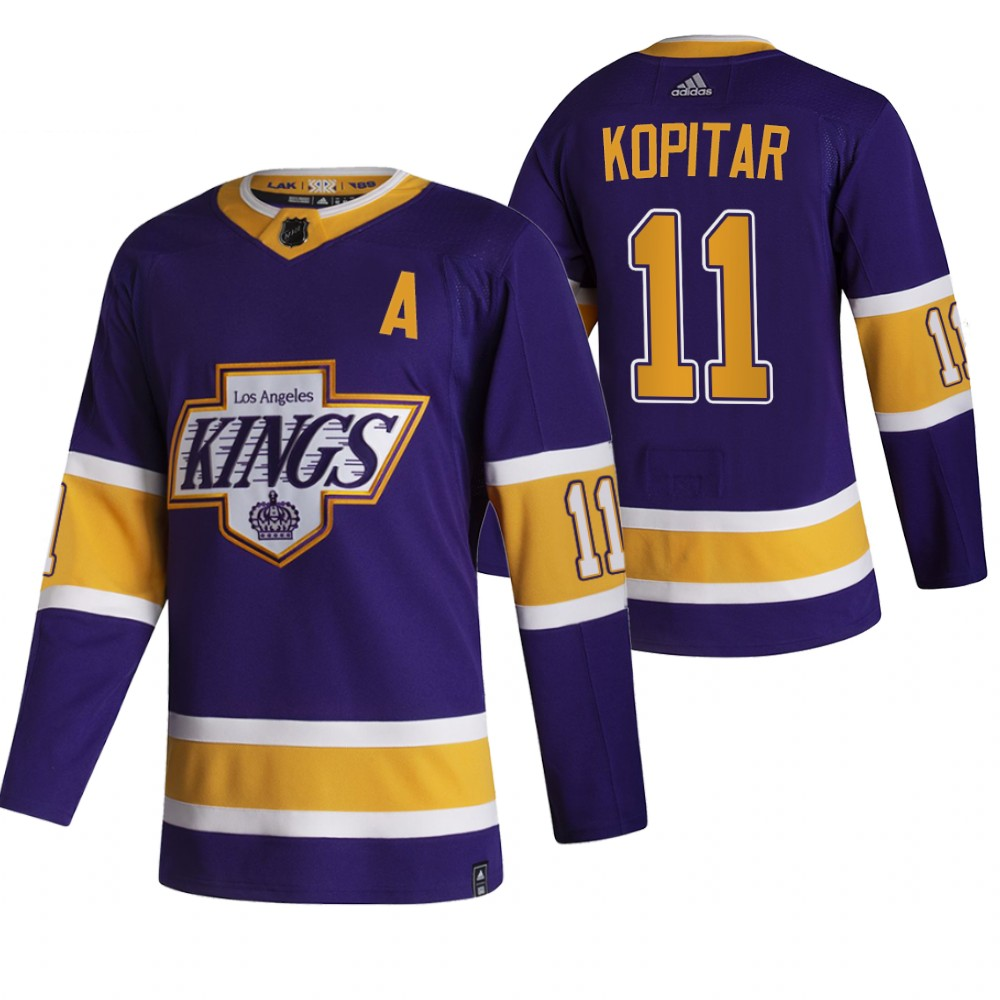 Los Angeles Kings #11 Anze Kopitar Black Men's Adidas 2020-21 Reverse Retro Alternate NHL Jersey