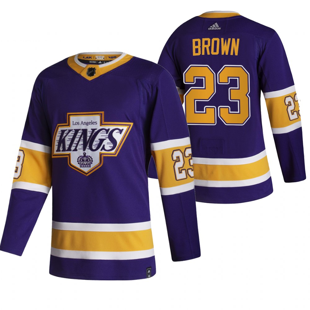 Los Angeles Kings #23 Dustin Brown Black Men's Adidas 2020-21 Reverse Retro Alternate NHL Jersey