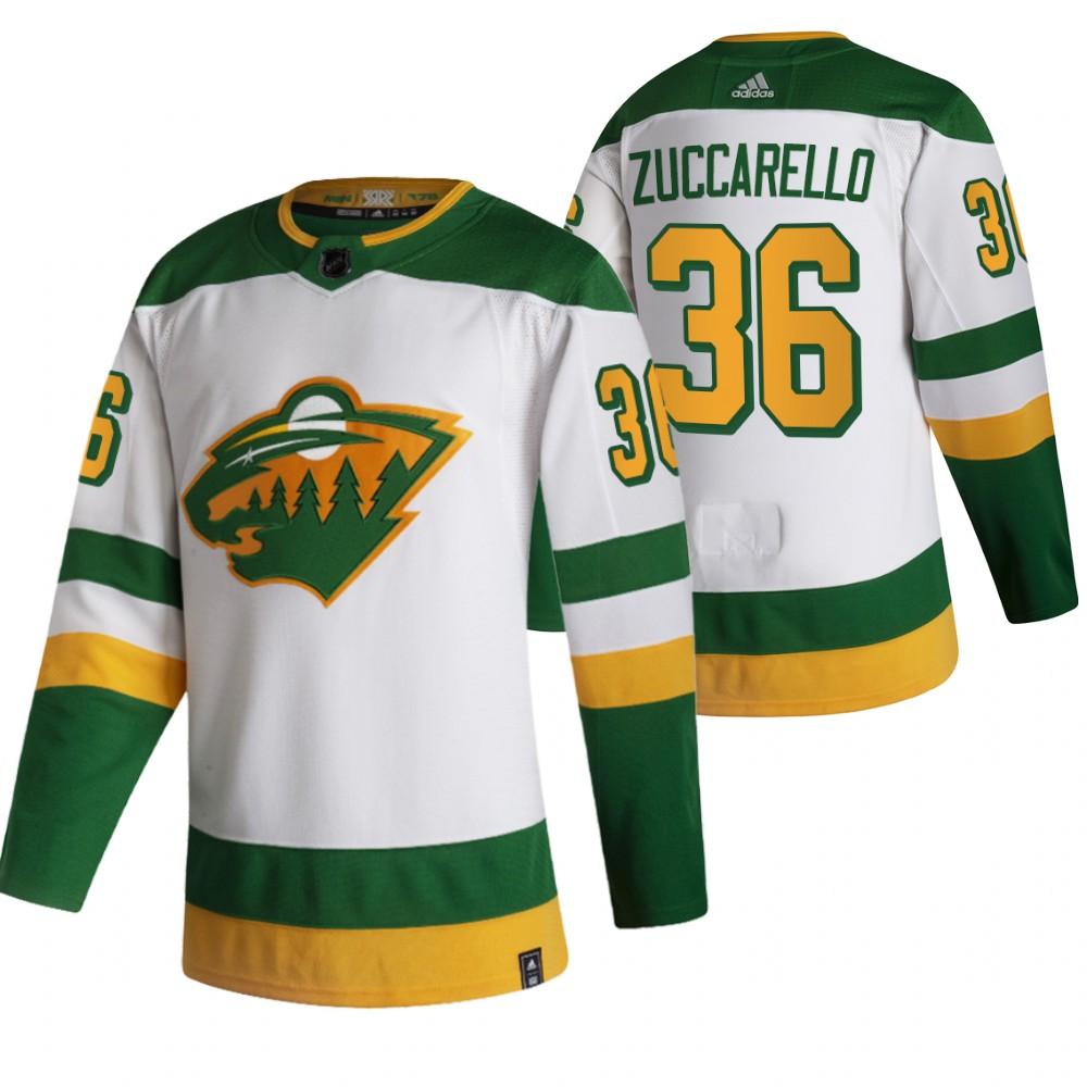 Minnesota Wild #36 Mats Zuccarello White Men's Adidas 2020-21 Reverse Retro Alternate NHL Jersey