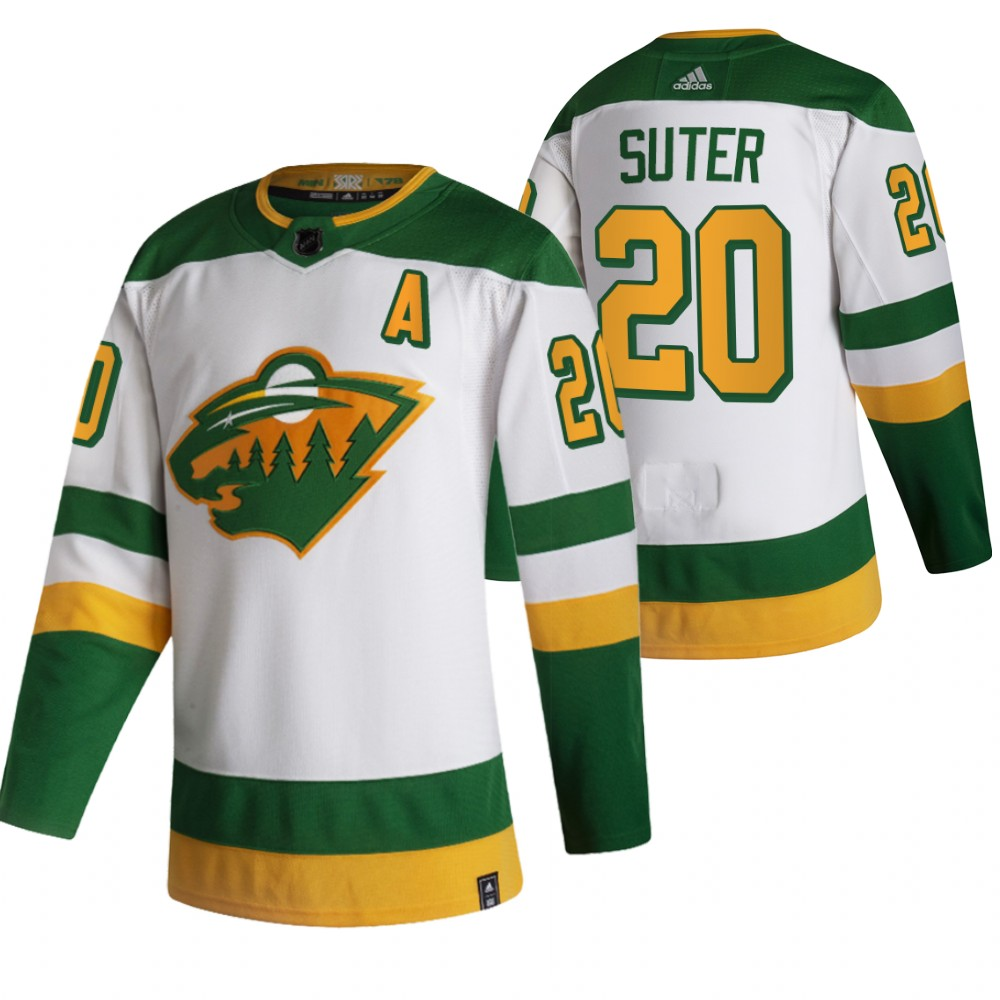 Minnesota Wild #20 Ryan Suter White Men's Adidas 2020-21 Reverse Retro Alternate NHL Jersey