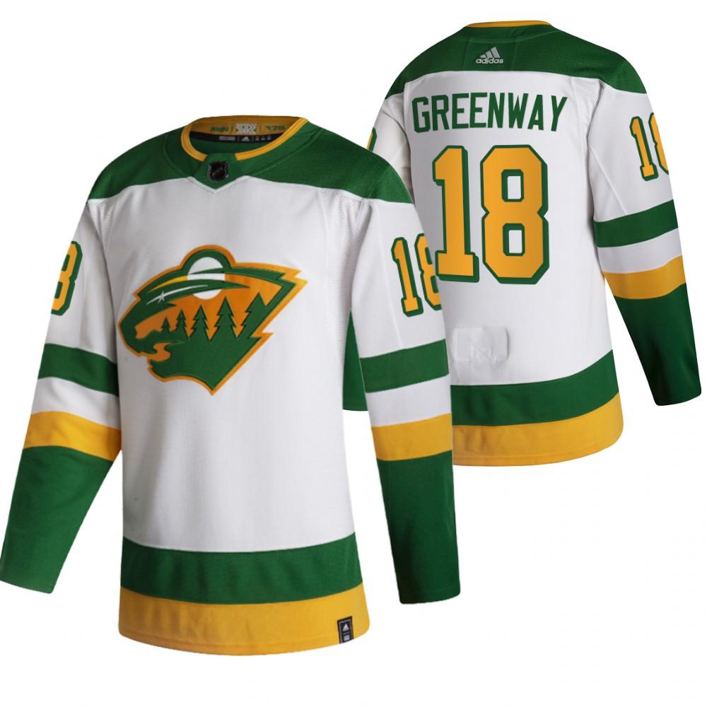 Minnesota Wild #18 Jordan Greenway White Men's Adidas 2020-21 Reverse Retro Alternate NHL Jersey