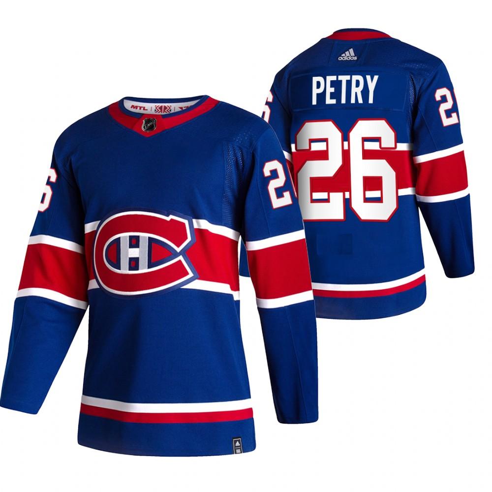 Montreal Canadiens #26 Jeff Petry Blue Men's Adidas 2020-21 Reverse Retro Alternate NHL Jersey