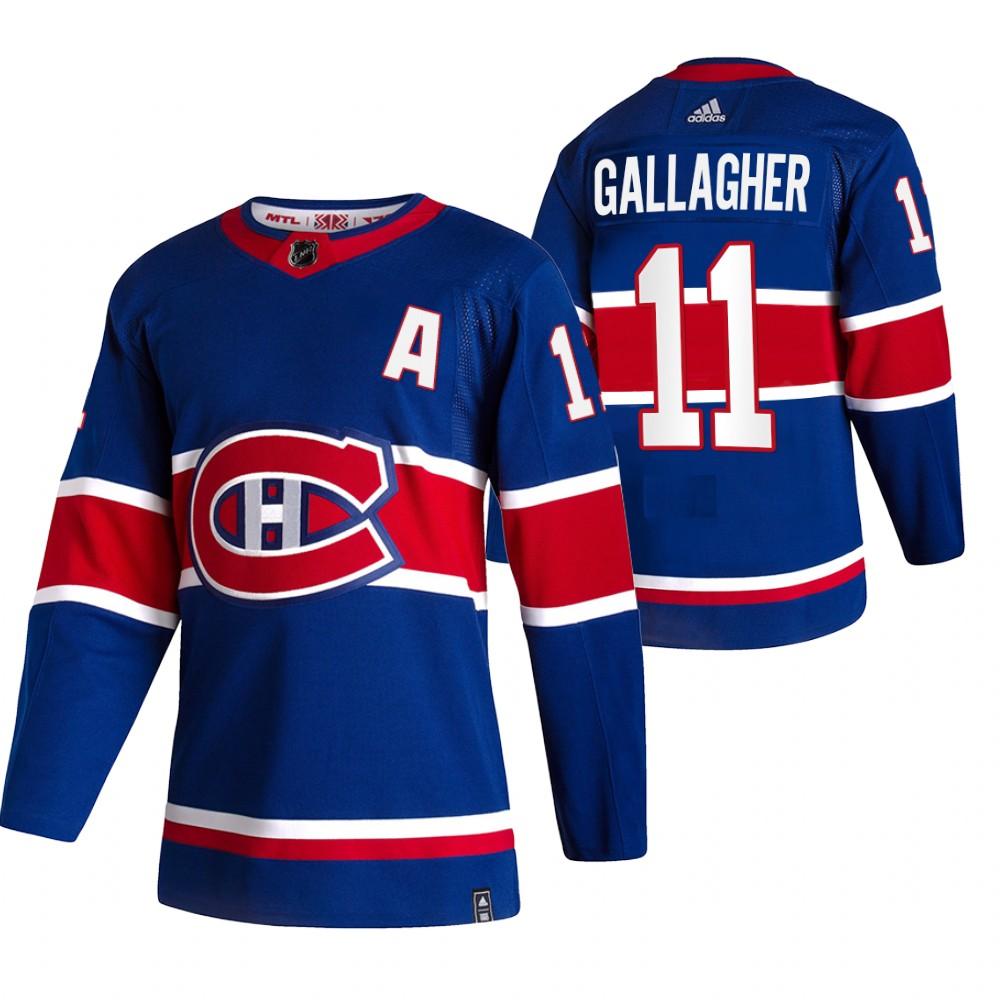 Montreal Canadiens #11 Brendan Gallagher Blue Men's Adidas 2020-21 Reverse Retro Alternate NHL Jersey