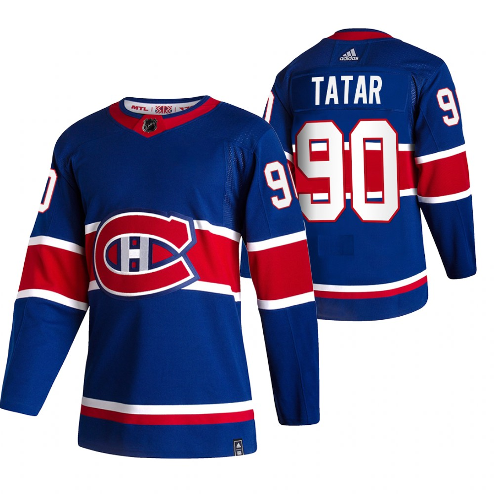 Montreal Canadiens #90 Tomas Tatar Blue Men's Adidas 2020-21 Reverse Retro Alternate NHL Jersey