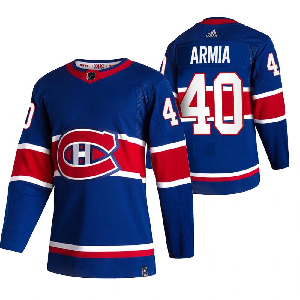 Montreal Canadiens #40 Joel Armia Blue Men's Adidas 2020-21 Reverse Retro Alternate NHL Jersey