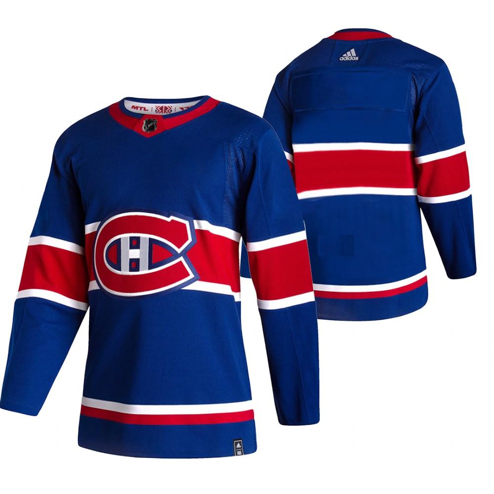Montreal Canadiens Blank Blue Men's Adidas 2020-21 Reverse Retro Alternate NHL Jersey