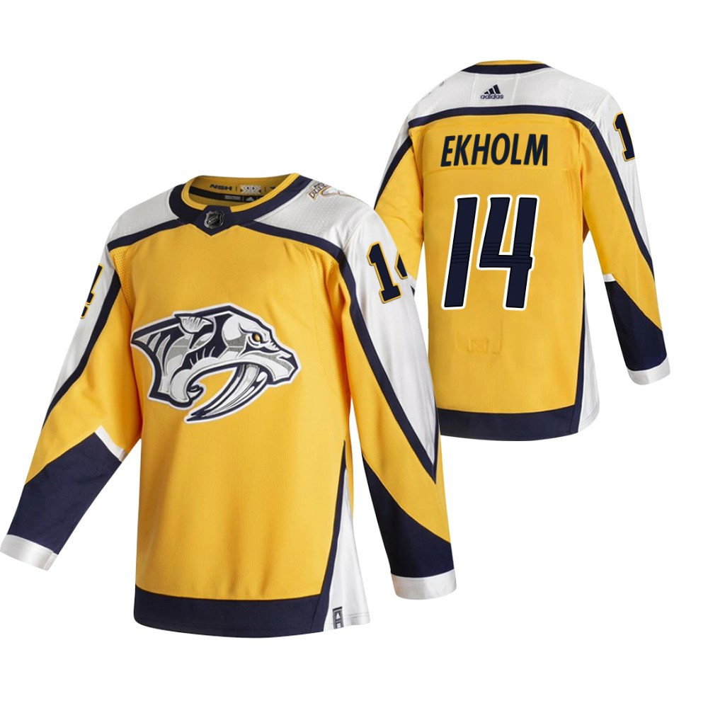 Nashville Predators #14 Mattias Ekholm Yellow Men's Adidas 2020-21 Reverse Retro Alternate NHL Jersey