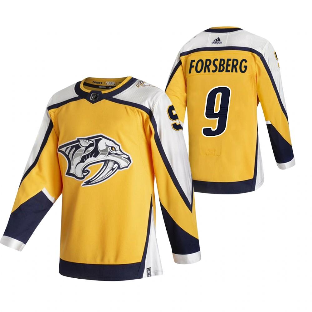Nashville Predators #9 Filip Forsberg Yellow Men's Adidas 2020-21 Reverse Retro Alternate NHL Jersey