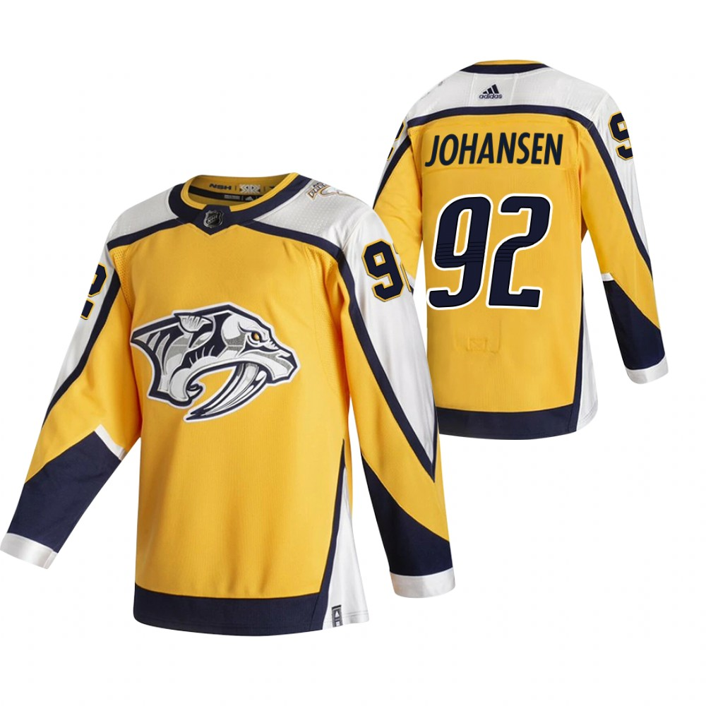 Nashville Predators #92 Ryan Johansen Yellow Men's Adidas 2020-21 Reverse Retro Alternate NHL Jersey