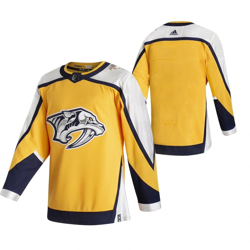 Nashville Predators Blank Yellow Men's Adidas 2020-21 Reverse Retro Alternate NHL Jersey