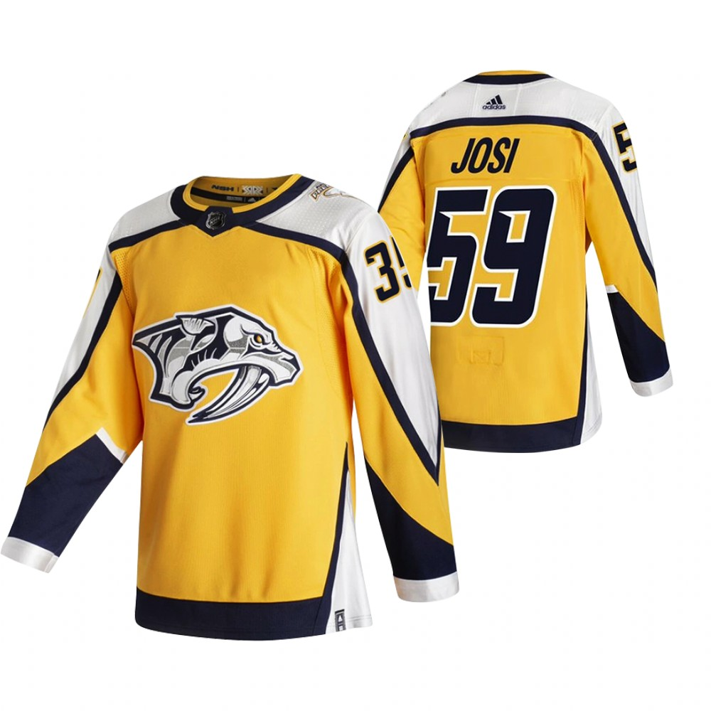 Nashville Predators #59 Roman Josi Yellow Men's Adidas 2020-21 Reverse Retro Alternate NHL Jersey