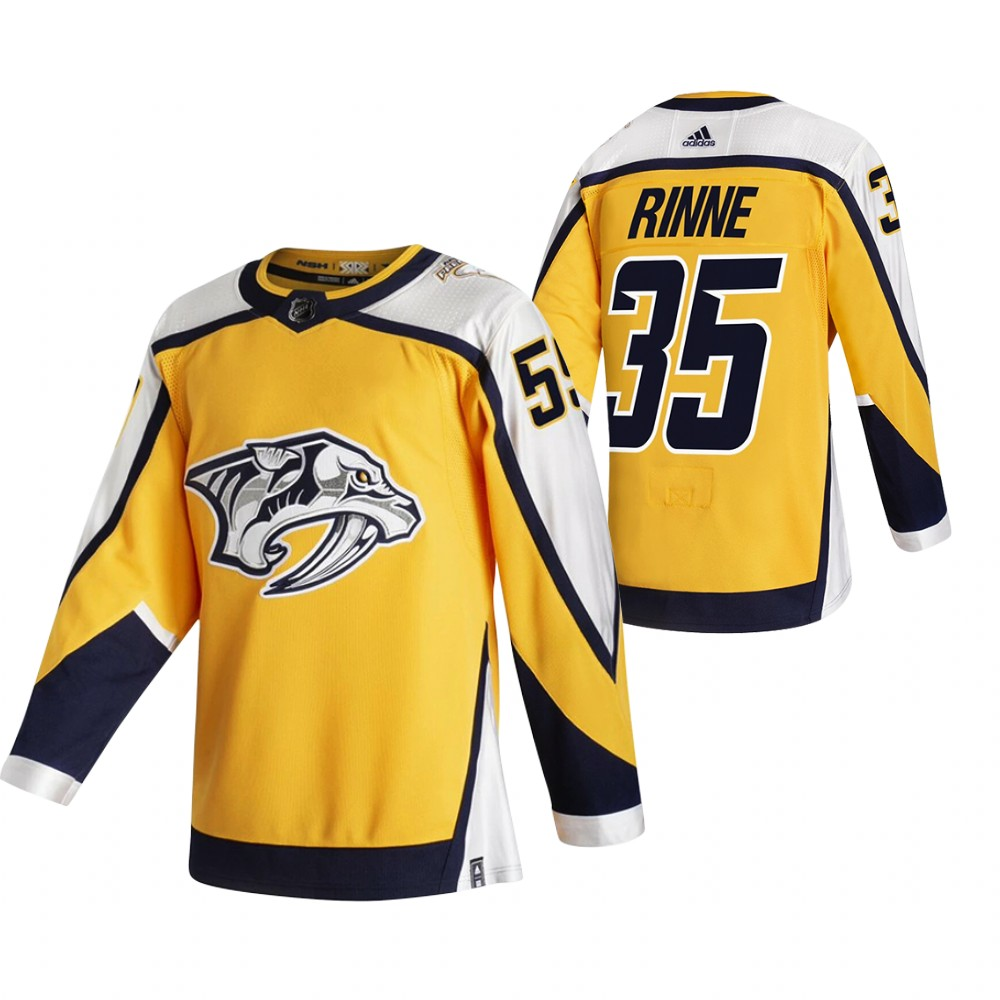 Nashville Predators #35 Pekka Rinne Yellow Men's Adidas 2020-21 Reverse Retro Alternate NHL Jersey