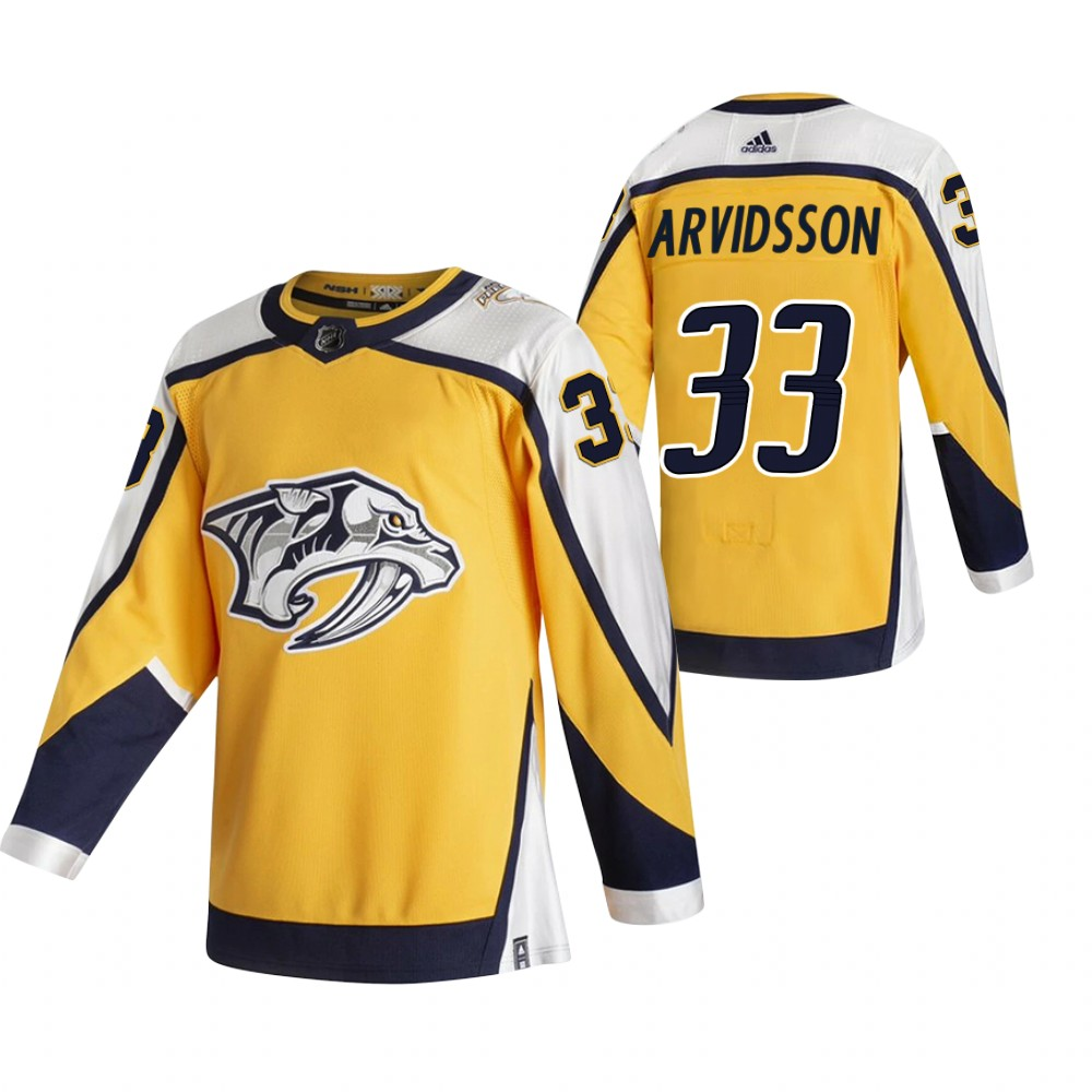 Nashville Predators #33 Viktor Arvidsson Yellow Men's Adidas 2020-21 Reverse Retro Alternate NHL Jersey