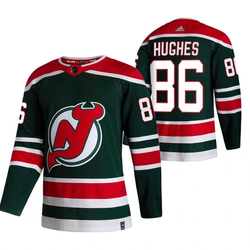 New Jersey Devils #86 Jack Hughes Green Men's Adidas 2020-21 Reverse Retro Alternate NHL Jersey