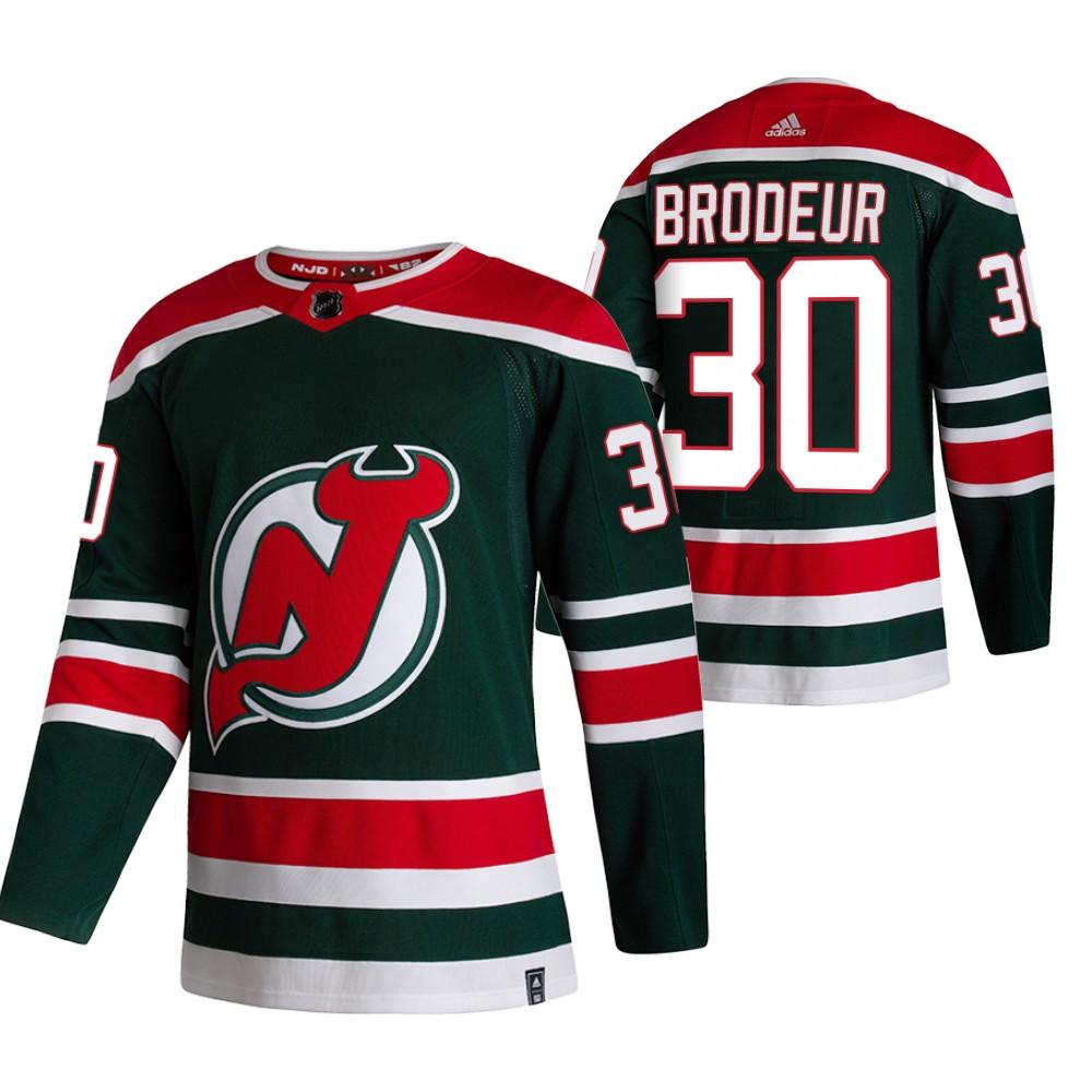 New Jersey Devils #30 Martin Brodeur Green Men's Adidas 2020-21 Reverse Retro Alternate NHL Jersey