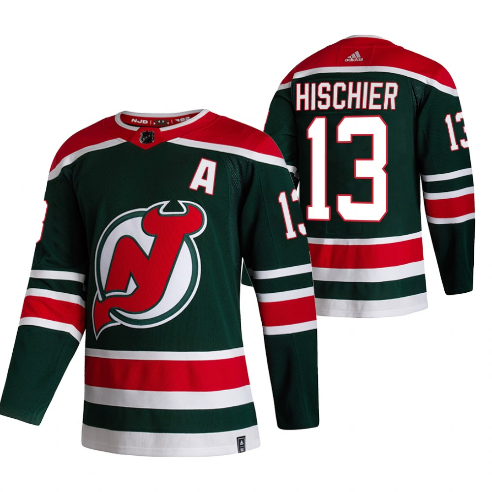 New Jersey Devils #13 Nico Hischier Green Men's Adidas 2020-21 Reverse Retro Alternate NHL Jersey