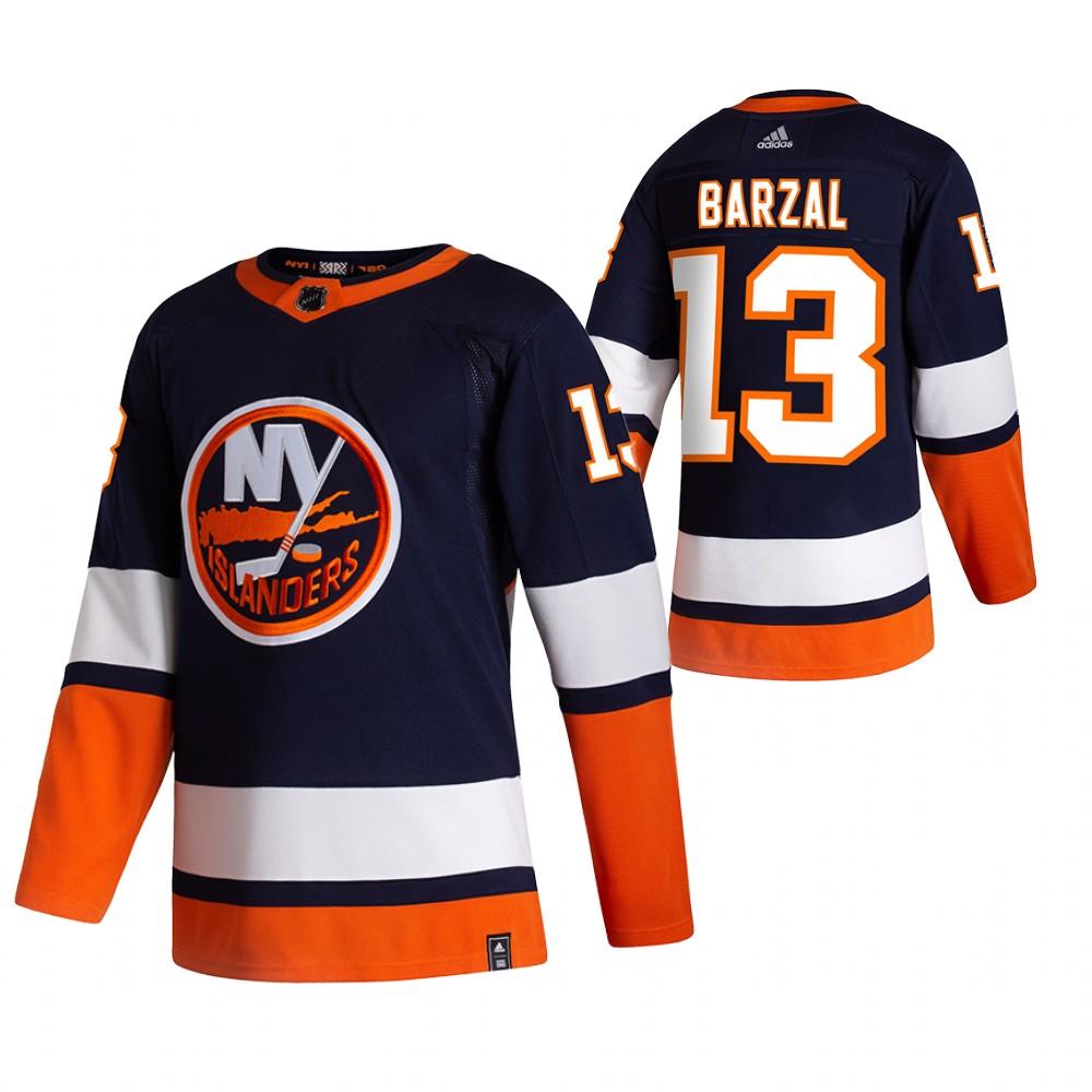 New York Islanders #13 Mathew Barzal Navy Blue Men's Adidas 2020-21 Reverse Retro Alternate NHL Jersey