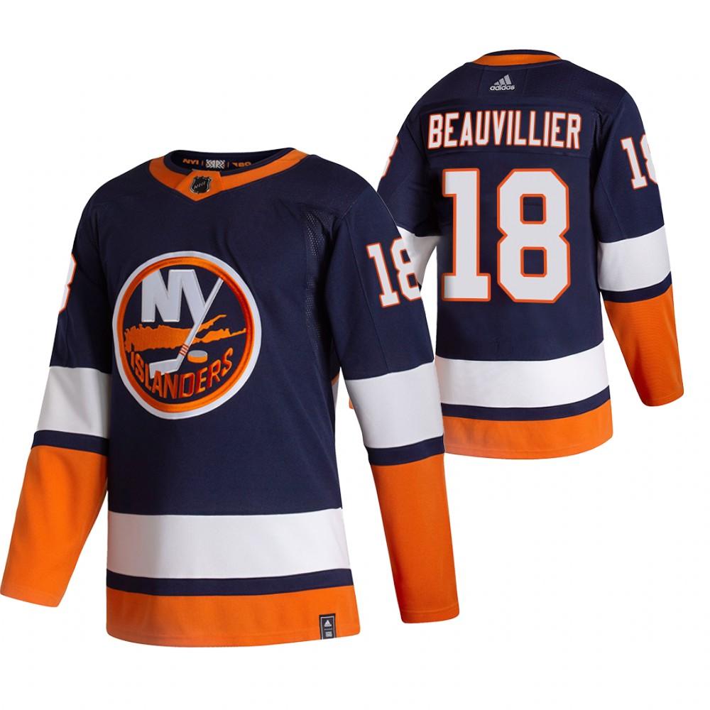 New York Islanders #18 Anthony Beauvillier Navy Blue Men's Adidas 2020-21 Reverse Retro Alternate NHL Jersey