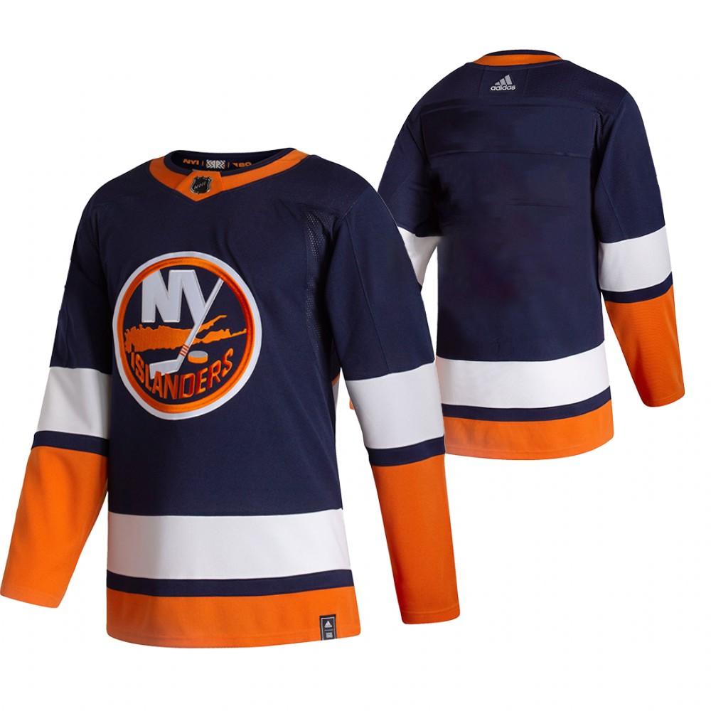 New York Islanders Blank Navy Blue Men's Adidas 2020-21 Reverse Retro Alternate NHL Jersey