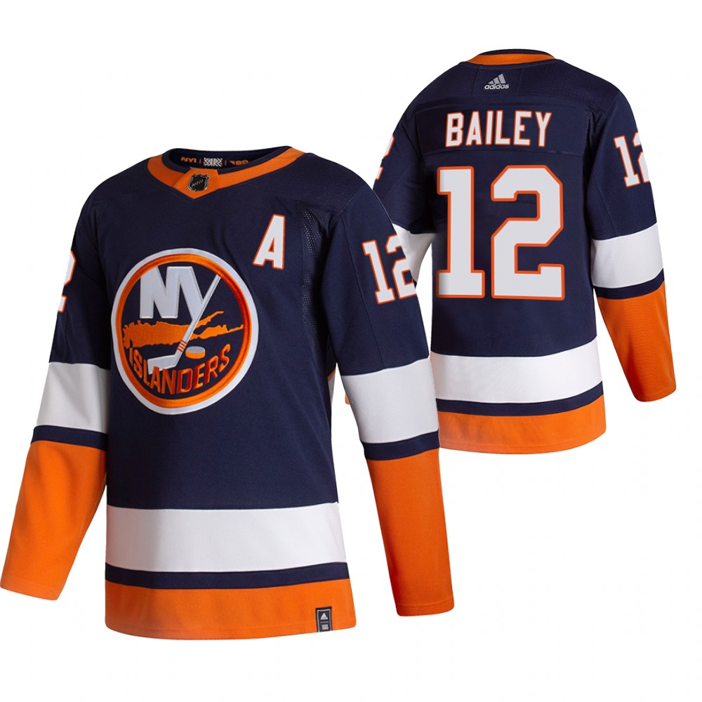New York Islanders #12 Josh Bailey Navy Blue Men's Adidas 2020-21 Reverse Retro Alternate NHL Jersey