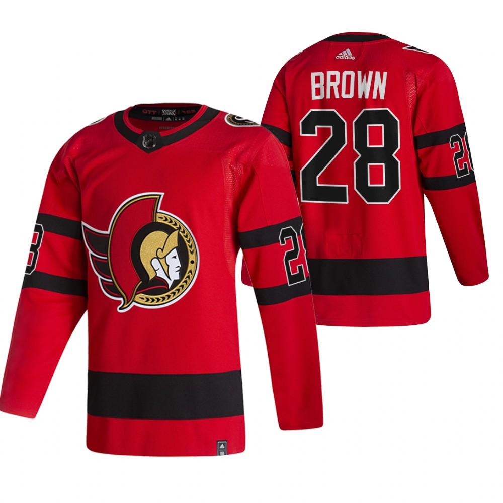 Ottawa Senators #28 Connor Brown Red Men's Adidas 2020-21 Reverse Retro Alternate NHL Jersey