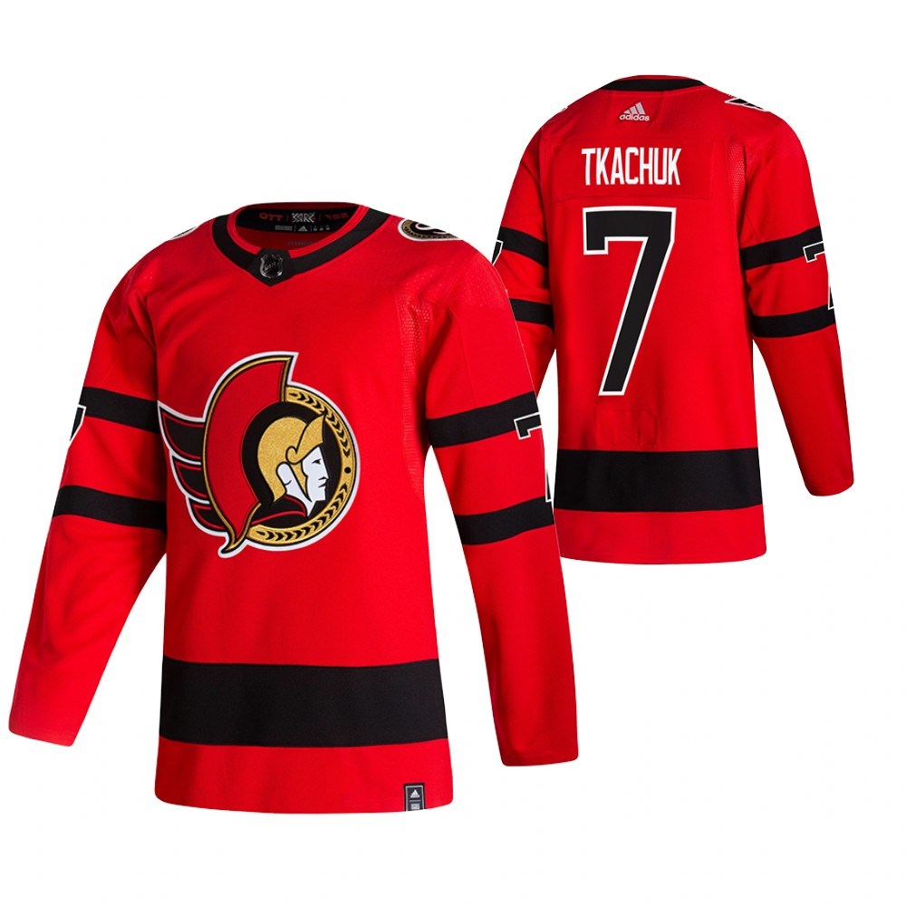 Ottawa Senators #7 Brady Tkachuk Red Men's Adidas 2020-21 Reverse Retro Alternate NHL Jersey