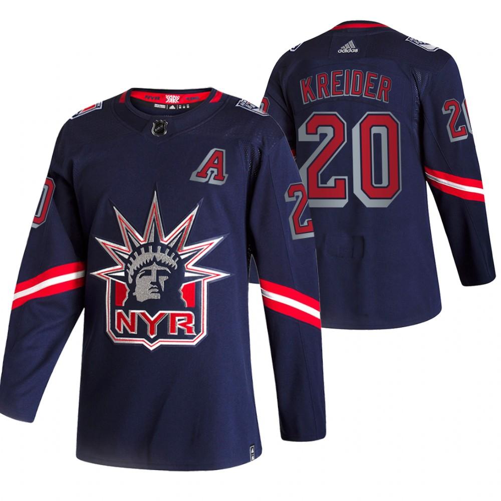 New York Rangers #20 Chris Kreider Navy Men's Adidas 2020-21 Reverse Retro Alternate NHL Jersey