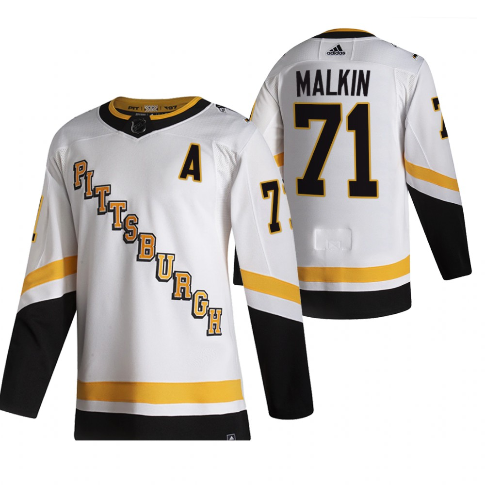 Pittsburgh Penguins #71 Evgeni Malkin White Men's Adidas 2020-21 Reverse Retro Alternate NHL Jersey