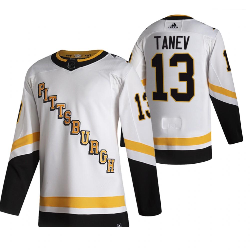 Pittsburgh Penguins #13 Brandon Tanev White Men's Adidas 2020-21 Reverse Retro Alternate NHL Jersey