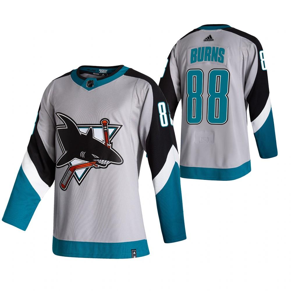 San Jose Sharks #88 Brent Burns Grey Men's Adidas 2020-21 Reverse Retro Alternate NHL Jersey