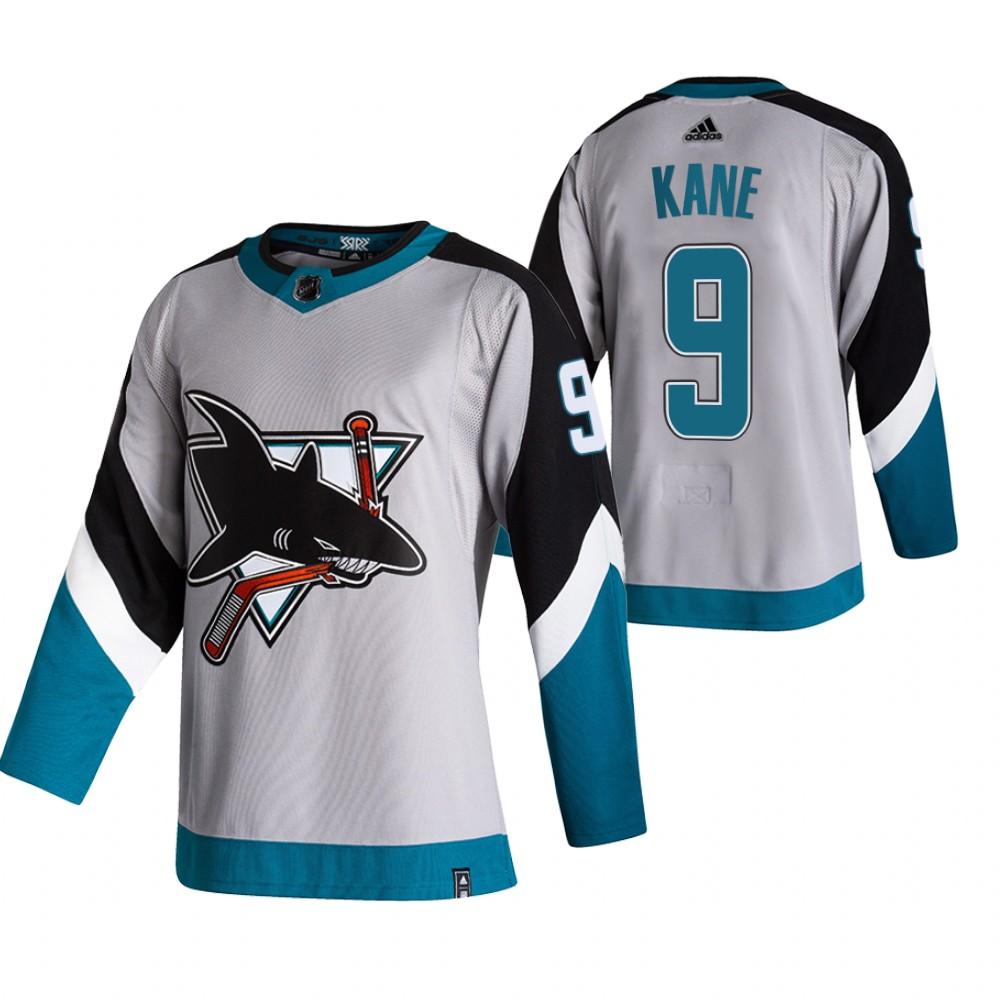 San Jose Sharks #9 Evander Kane Grey Men's Adidas 2020-21 Reverse Retro Alternate NHL Jersey
