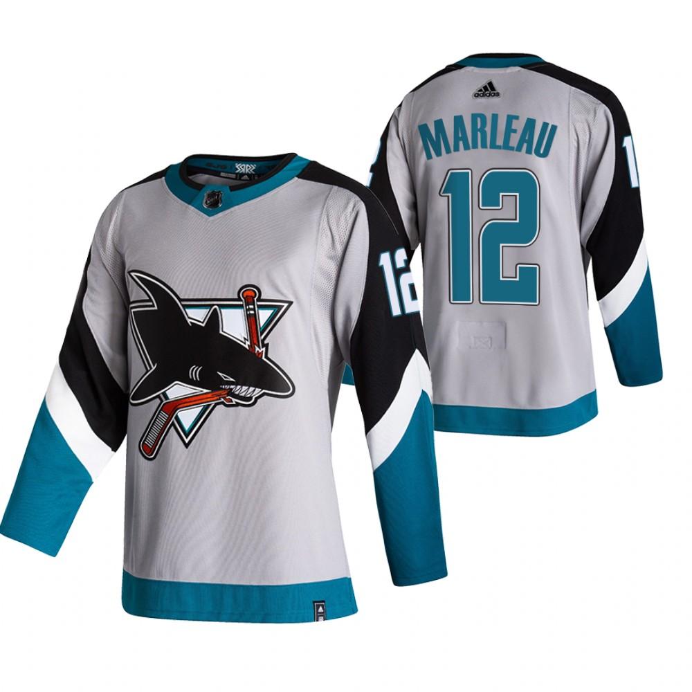 San Jose Sharks #12 Patrick Marleau Grey Men's Adidas 2020-21 Reverse Retro Alternate NHL Jersey