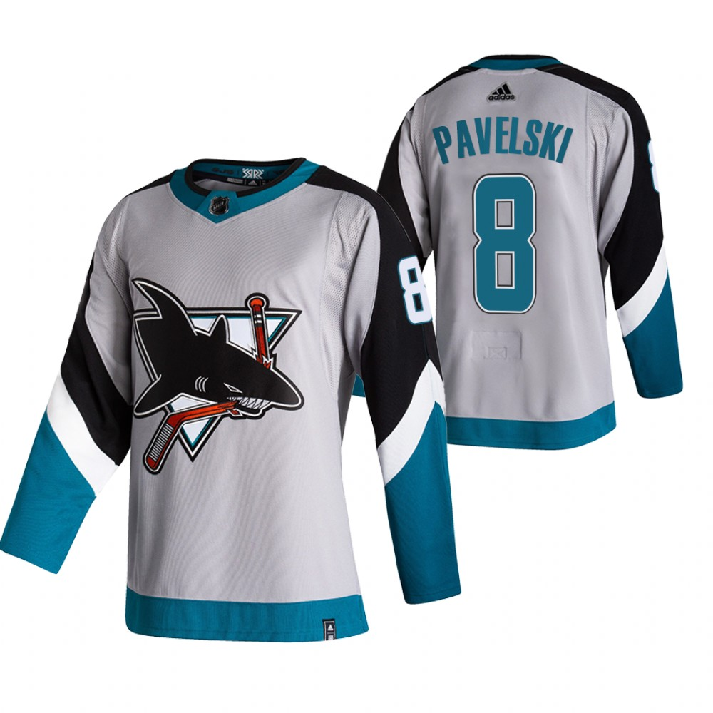 San Jose Sharks #8 Joe Pavelski Grey Men's Adidas 2020-21 Reverse Retro Alternate NHL Jersey