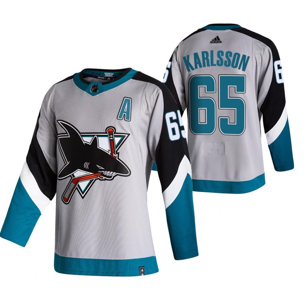 San Jose Sharks #65 Erik Karlsson Grey Men's Adidas 2020-21 Reverse Retro Alternate NHL Jersey