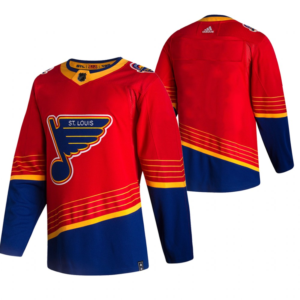 St. Louis Blues Blank Red Men's Adidas 2020-21 Reverse Retro Alternate NHL Jersey