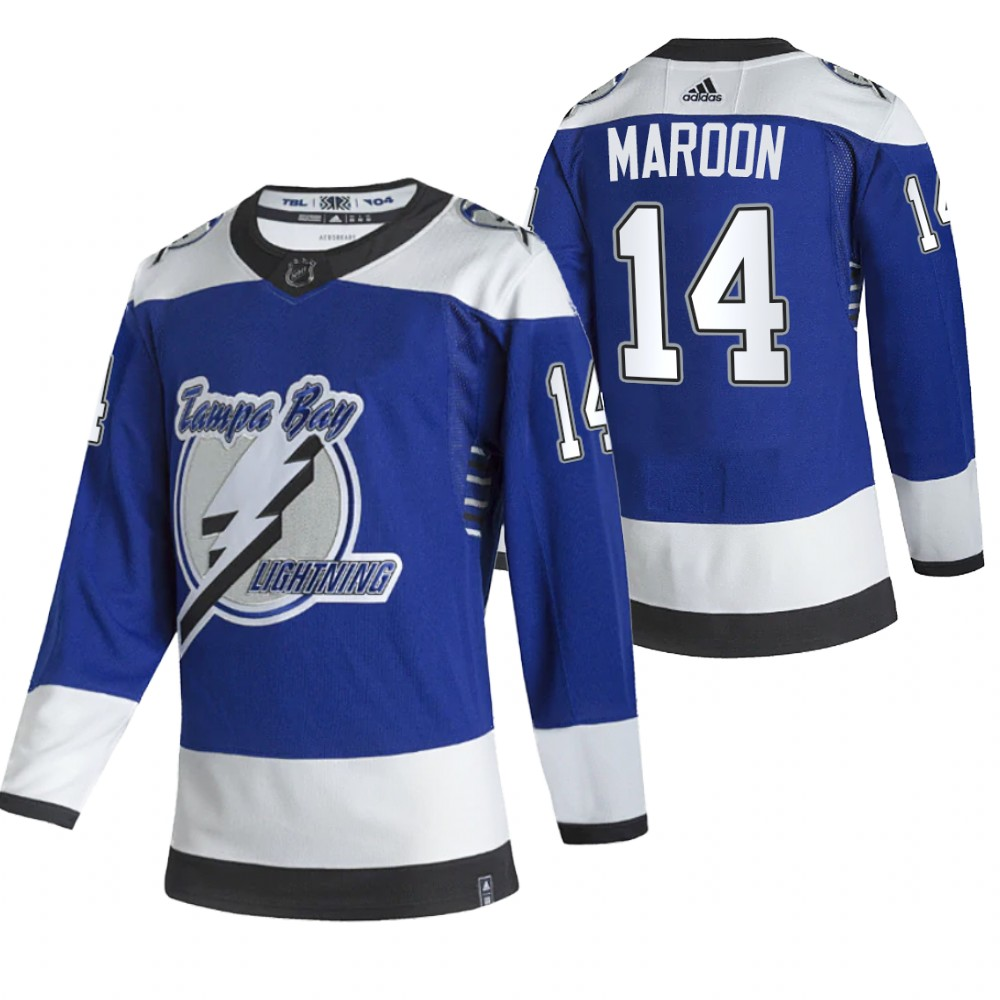 Tampa Bay Lightning #14 Patrick Maroon Blue Men's Adidas 2020-21 Reverse Retro Alternate NHL Jersey