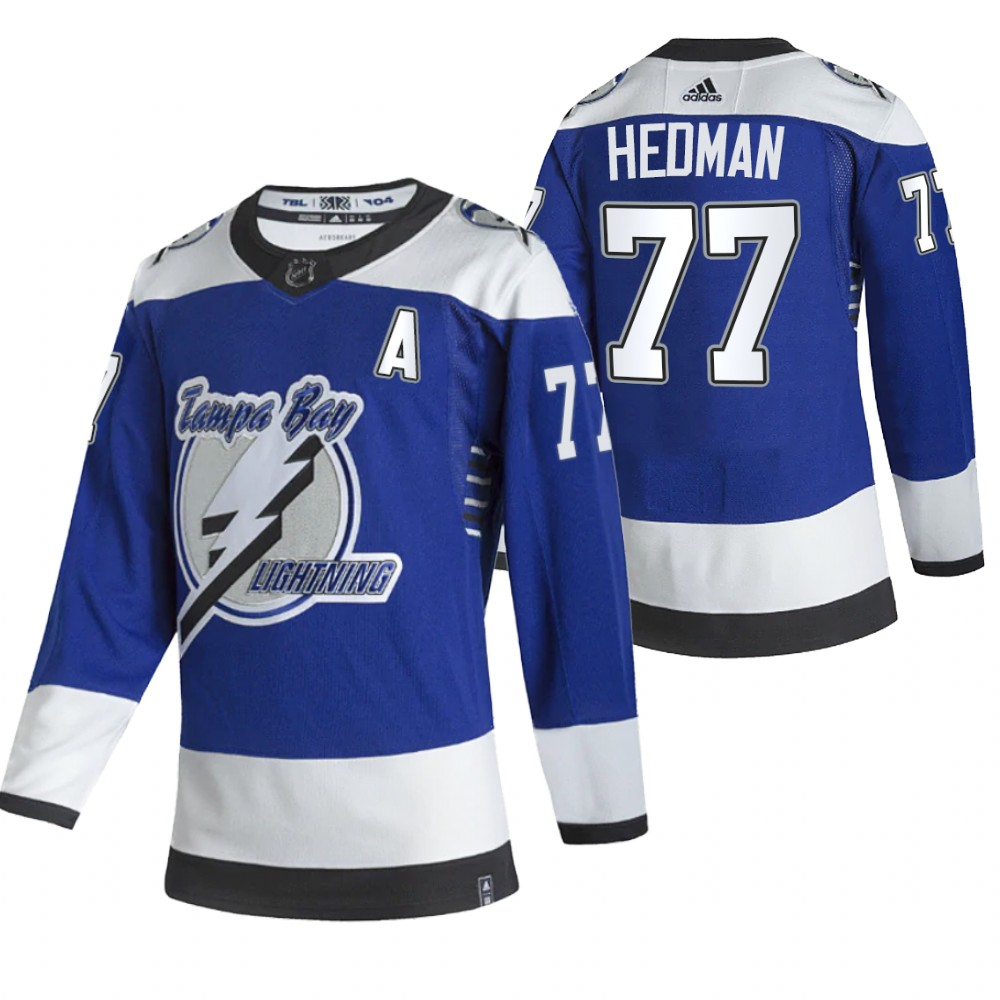 Tampa Bay Lightning #77 Victor Hedman Blue Men's Adidas 2020-21 Reverse Retro Alternate NHL Jersey