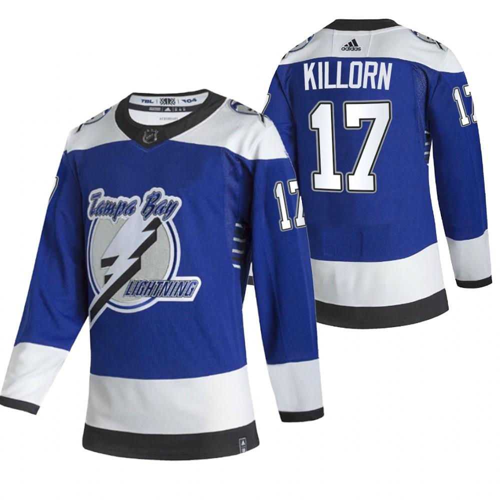 Tampa Bay Lightning #17 Alex Killorn Blue Men's Adidas 2020-21 Reverse Retro Alternate NHL Jersey