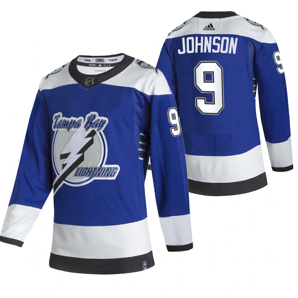 Tampa Bay Lightning #9 Tyler Johnson Blue Men's Adidas 2020-21 Reverse Retro Alternate NHL Jersey