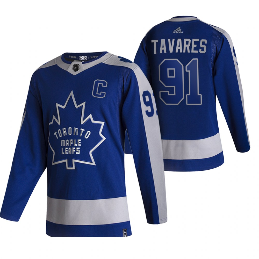 Toronto Maple Leafs #91 John Tavares Blue Men's Adidas 2020-21 Reverse Retro Alternate NHL Jersey