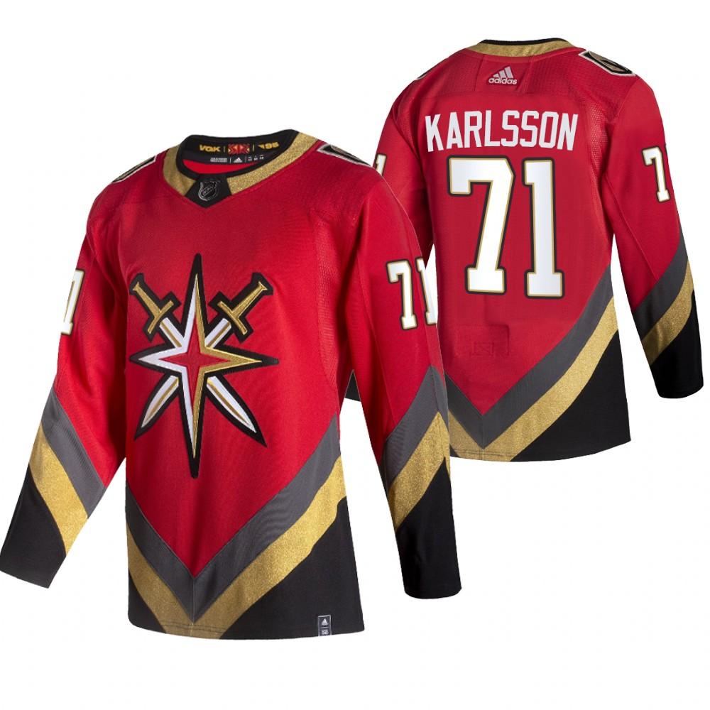 Vegas Golden Knights #71 William Karlsson Red Men's Adidas 2020-21 Reverse Retro Alternate NHL Jersey