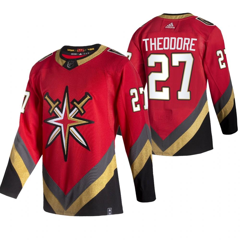 Vegas Golden Knights #27 Shea Theodore Red Men's Adidas 2020-21 Reverse Retro Alternate NHL Jersey