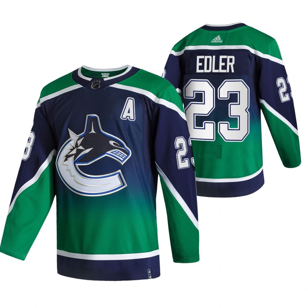 Vancouver Canucks #23 Alexander Edler Green Men's Adidas 2020-21 Reverse Retro Alternate NHL Jersey