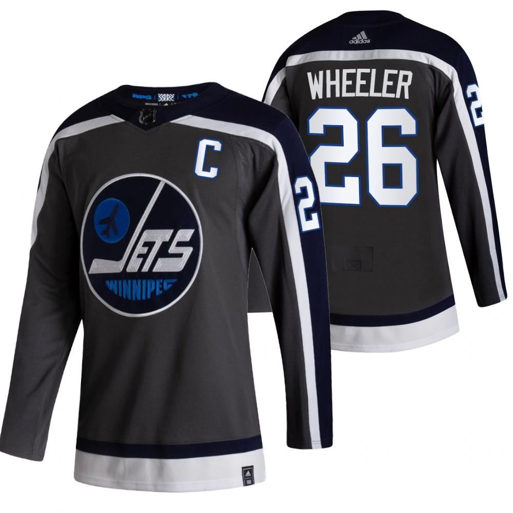 Winnipeg Jets #26 Blake Wheeler Black Men's Adidas 2020-21 Reverse Retro Alternate NHL Jersey